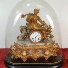 Relojes de carga manual: RELOJ DE REPISA. ESCULTURA DE METAL DORADO. MAQUINARIA JAPY ET CIE. SIGLO XIX.. Lote 185705646