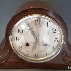 Relojes de carga manual: RELOJ DE CHIMENEA ALEMAN DE MADERA DE ROBLE ART NOUVEAU. Lote 189258690