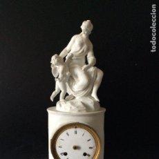 Relojes de carga manual: RELOJ FRANCÉS LOUIS XVI,EN BISCUIT Y BRONCE DORADO-ÉPOCA NAPOLEÓN III-ALTURA 42 CM16X13 CM . Lote 190602805