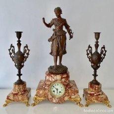 Relojes de carga manual: RELOJ CON CANDELABROS GUARNICION , ESPECIAL , MARMOL Y OTROS. Lote 191337757