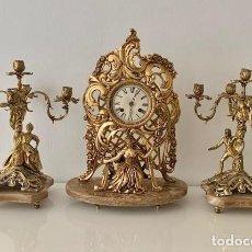 Relojes de carga manual: RELOG CON CANDELABROS , BRONCE , PLATA , ORO , MARMOL AL ESTILO ROCOCO. Lote 191437811