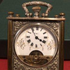 Relojes de carga manual: SOBERBIO RELOJ DE VIAJE, 8 DÍAS CUERDA, CON CAJA, CON ESCENAS DE DEPORTES.. Lote 194201840
