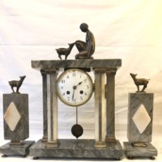 Relojes de carga manual: RELOJ ART DECO DE MÁRMOL Y BRONCE. Lote 194284523