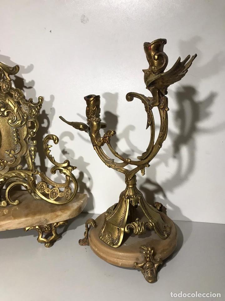 Relojes de carga manual: Juego de reloj y candelabros barroco reloj con soneria - Foto 2 - 194322191