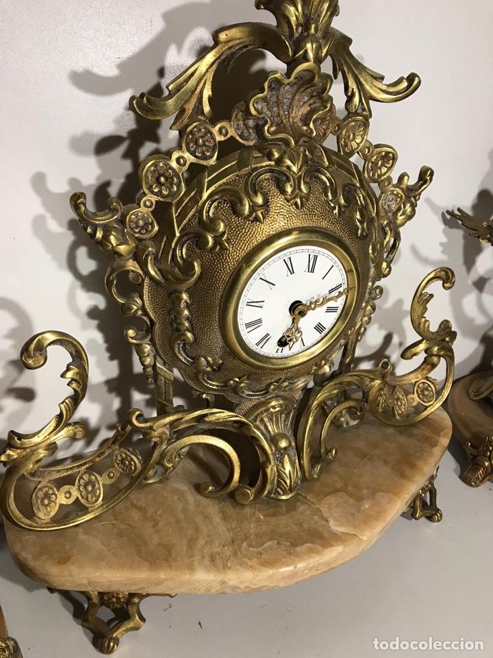 Relojes de carga manual: Juego de reloj y candelabros barroco reloj con soneria - Foto 4 - 194322191