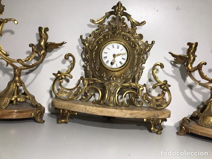 Relojes de carga manual: Juego de reloj y candelabros barroco reloj con soneria - Foto 5 - 194322191