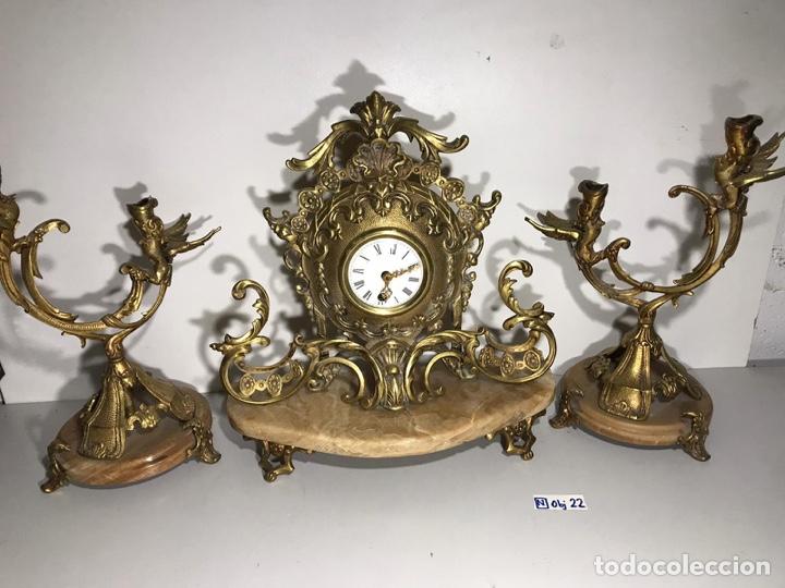 Relojes de carga manual: Juego de reloj y candelabros barroco reloj con soneria - Foto 6 - 194322191