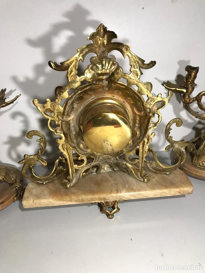 Relojes de carga manual: Juego de reloj y candelabros barroco reloj con soneria - Foto 7 - 194322191
