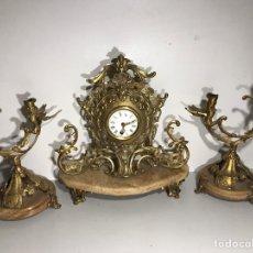Relojes de carga manual: JUEGO DE RELOJ Y CANDELABROS BARROCO RELOJ CON SONERIA. Lote 194322191