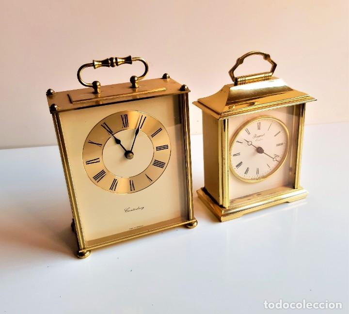 BONITOS DOS RELOJES ALEMANES GRANDES SOBREMESA LATON PESADOS - 17 Y 19.CM ALTO (SI FUNCIONAN) (Relojes - Sobremesa Carga Manual)