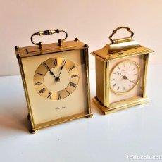 Relojes de carga manual: BONITOS DOS RELOJES ALEMANES GRANDES SOBREMESA LATON PESADOS - 17 Y 19.CM ALTO (SI FUNCIONAN). Lote 194339585