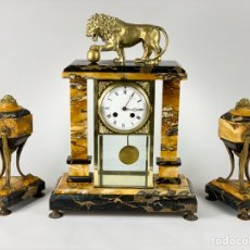 Relojes de carga manual: CONJUNTO DE RELOJ Y COPAS EN MÁRMOL. ART DECO. Lote 194517790
