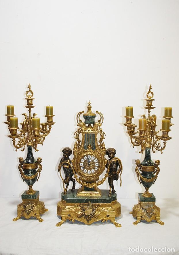 Relojes de carga manual: RELOJ CON GUARNICIÓN BRONCE Y MÁRMOL, ESTILO IMPERIO - Foto 2 - 194754168
