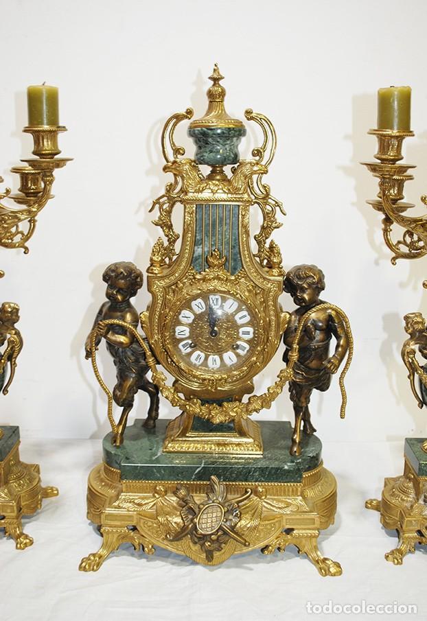 Relojes de carga manual: RELOJ CON GUARNICIÓN BRONCE Y MÁRMOL, ESTILO IMPERIO - Foto 3 - 194754168