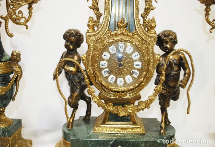 Relojes de carga manual: RELOJ CON GUARNICIÓN BRONCE Y MÁRMOL, ESTILO IMPERIO - Foto 5 - 194754168