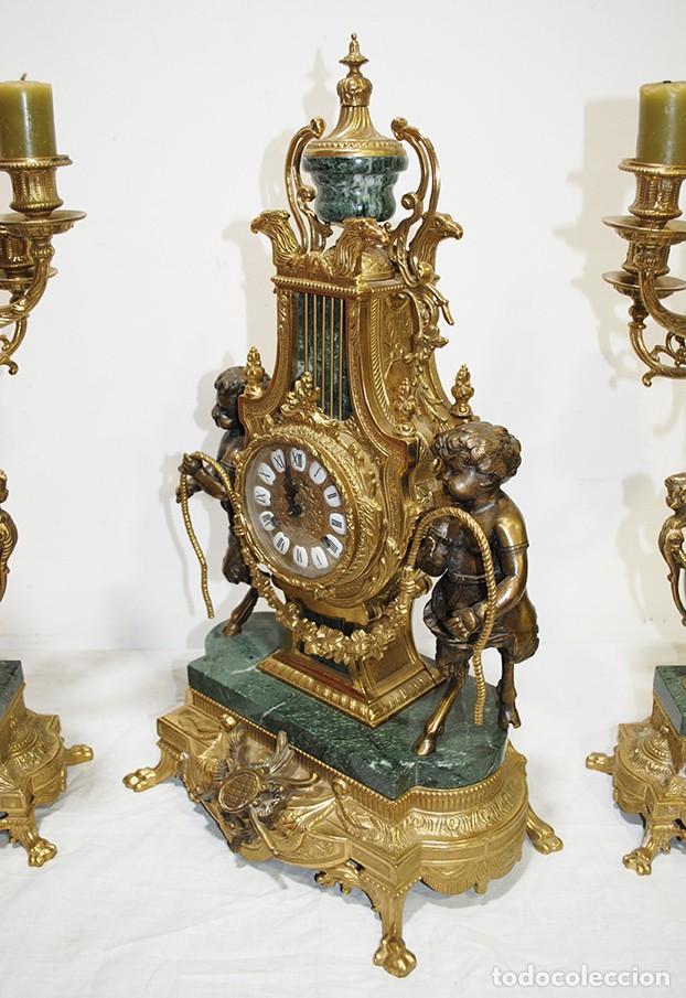 Relojes de carga manual: RELOJ CON GUARNICIÓN BRONCE Y MÁRMOL, ESTILO IMPERIO - Foto 9 - 194754168