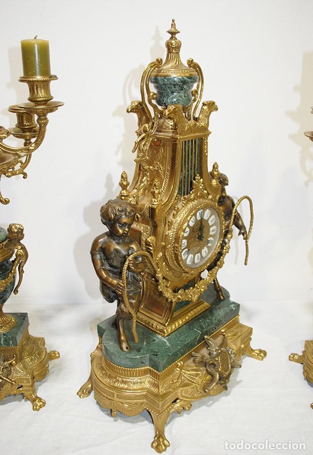 Relojes de carga manual: RELOJ CON GUARNICIÓN BRONCE Y MÁRMOL, ESTILO IMPERIO - Foto 11 - 194754168