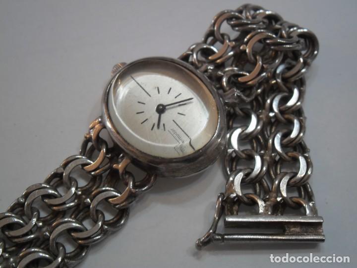 RELOJ DE PULSERA DE PLATA DE LEY MARCA THERMIDOR, AÑOS 70-80, CON PULSERA DE PLATA (Relojes - Sobremesa Carga Manual)