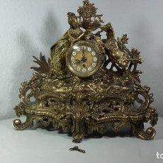 Relojes de carga manual: RELOJ A CUERDA ALEMAN EN BRONCE DORADO, DE SOBREMESA.. Lote 195042752