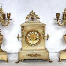 Relojes de carga manual: RELOJ DE ALABASTRO CON GUARNICIÒN. Lote 195260396