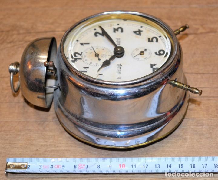 Relojes de carga manual: Despertador Sobremesa Antiguo, de marca FRMB Junghans A Cuerda Metálico - 3 Esferas y Campana - 20,s - Foto 2 - 195309067