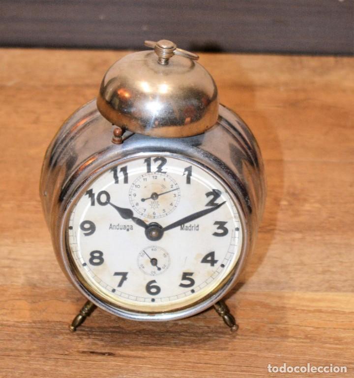 Relojes de carga manual: Despertador Sobremesa Antiguo, de marca FRMB Junghans A Cuerda Metálico - 3 Esferas y Campana - 20,s - Foto 4 - 195309067