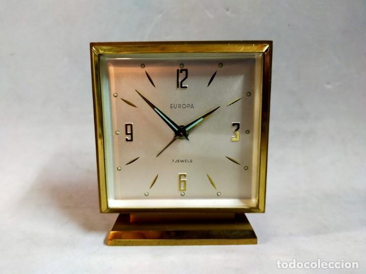 RELOJ DE SOBREMESA DE CARGA MANUAL. EUROPA, 7 JEWELS (Relojes - Sobremesa Carga Manual)
