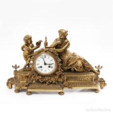 Relojes de carga manual: RELOJ DE SOBREMESA FRANCÉS EN BRONCE DORADO AL MERCURIO DEL SIGLO XIX. Lote 195534240