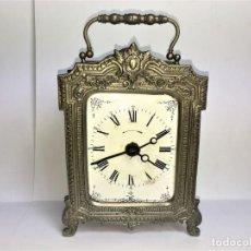 Relojes de carga manual: RELOJ DE SOBREMESA MESA DE LATÓN GRAND PRIX DE L'HORLOGERIE 1878. Lote 196005763