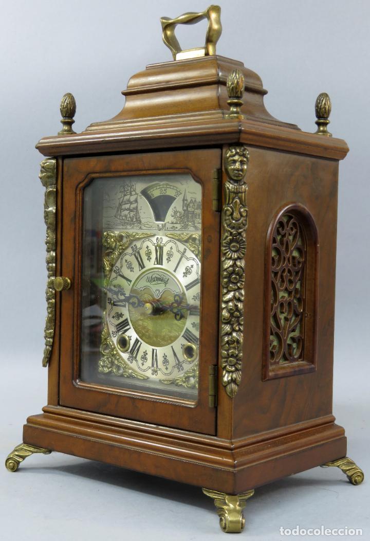 Relojes de carga manual: Reloj de sobremesa holandés Warmink con dos carriles y sonería en funcionamiento hacia 1950 - Foto 4 - 203158141