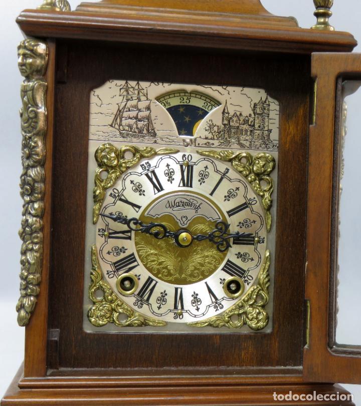 Relojes de carga manual: Reloj de sobremesa holandés Warmink con dos carriles y sonería en funcionamiento hacia 1950 - Foto 13 - 203158141
