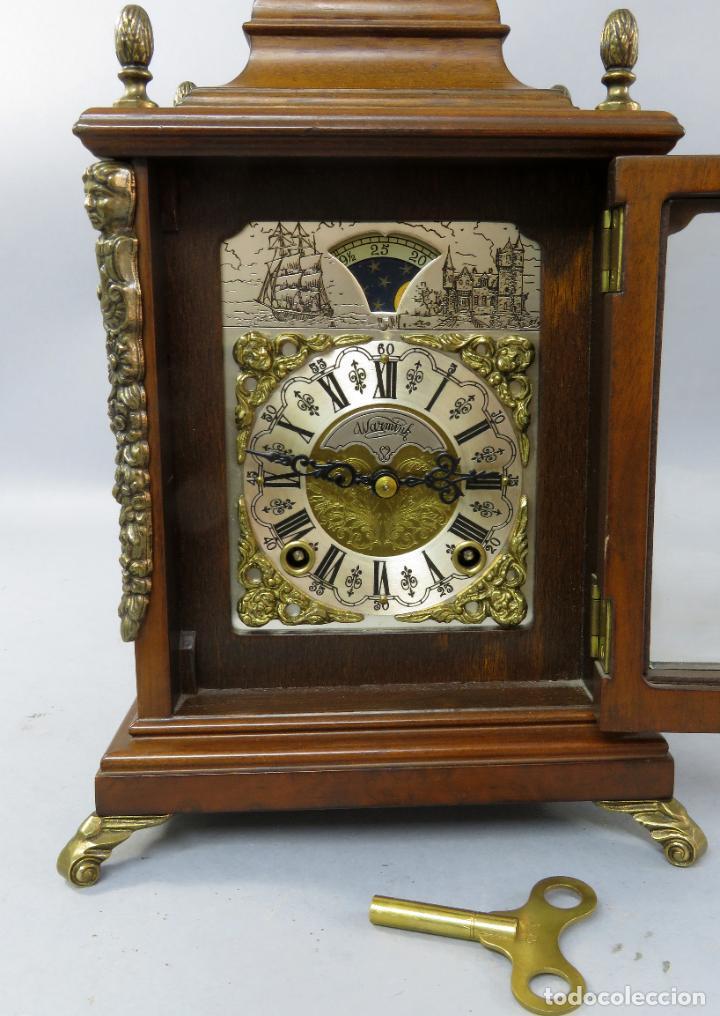 Relojes de carga manual: Reloj de sobremesa holandés Warmink con dos carriles y sonería en funcionamiento hacia 1950 - Foto 16 - 203158141