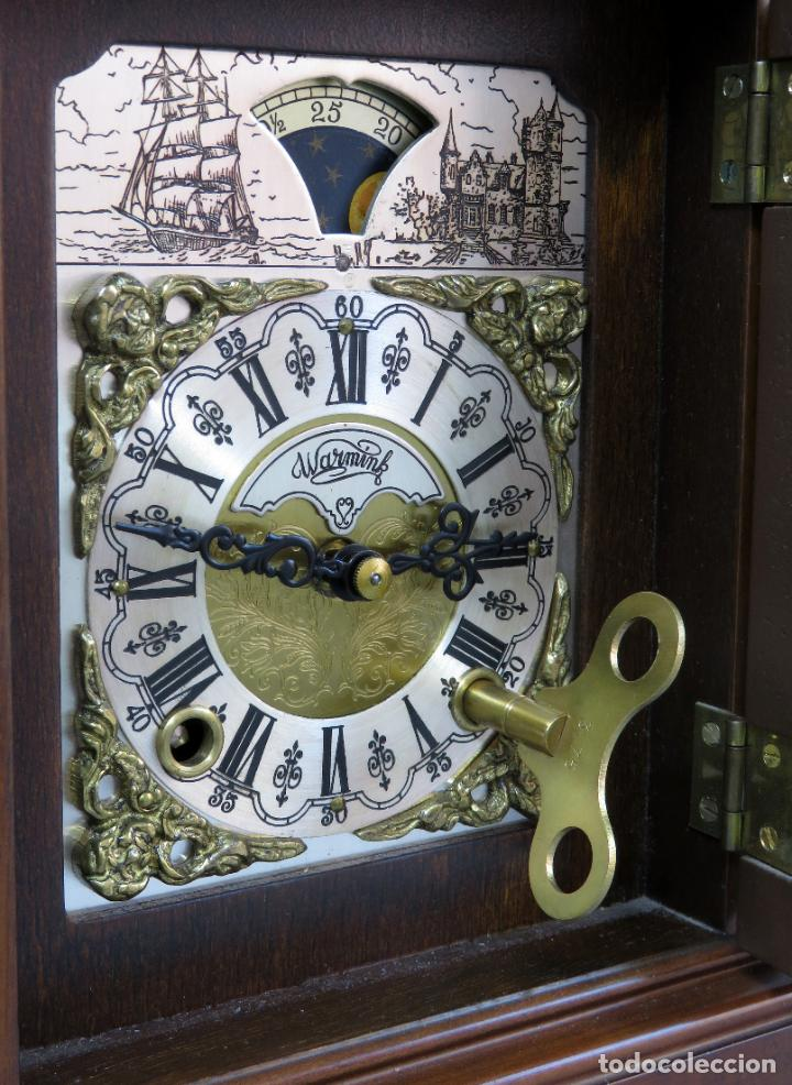 Relojes de carga manual: Reloj de sobremesa holandés Warmink con dos carriles y sonería en funcionamiento hacia 1950 - Foto 17 - 203158141