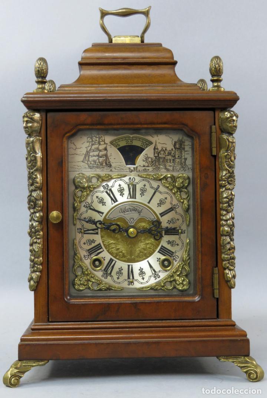 RELOJ DE SOBREMESA HOLANDÉS WARMINK CON DOS CARRILES Y SONERÍA EN FUNCIONAMIENTO HACIA 1950 (Relojes - Sobremesa Carga Manual)