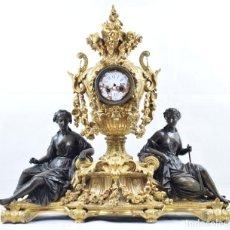 Relojes de carga manual: RAINGO FRERES FRENCH BRONZE FIGURAL CLOCK (HENRI PICARD, FRENCH 1840-1890). Lote 210490890
