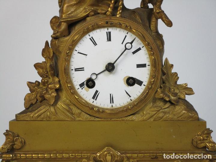 Relojes de carga manual: Reloj de Sobremesa - Estilo Imperio - Bronce - Hiladora - Completo - Funciona - S.XIX - Foto 3 - 210752075