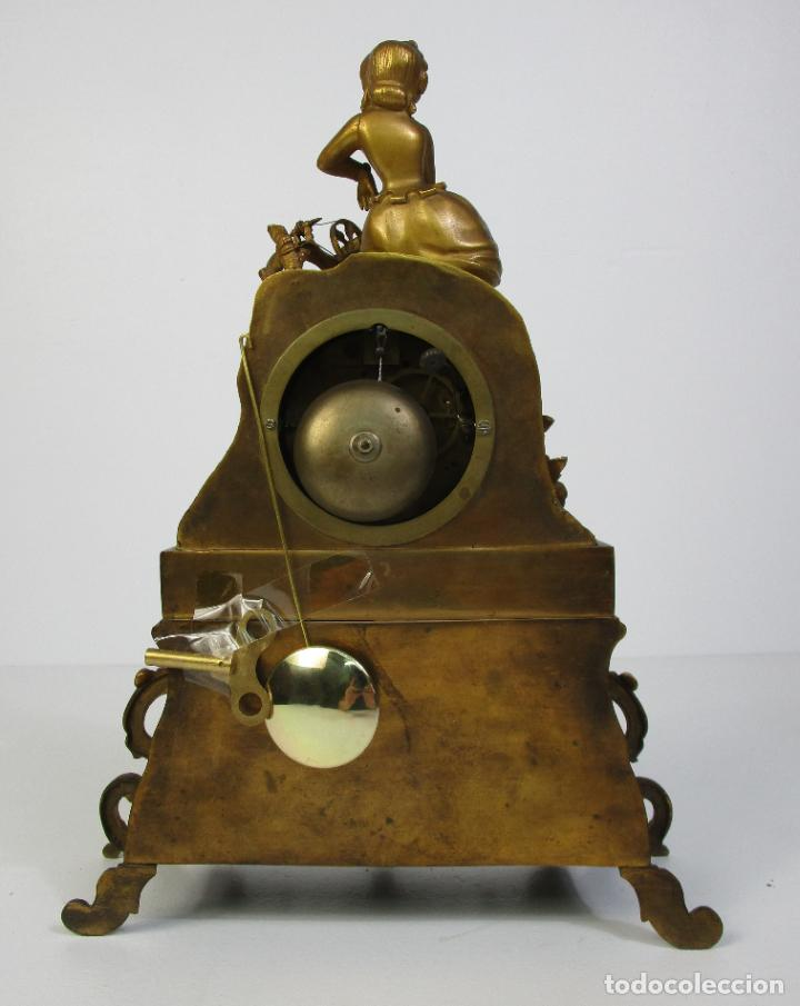 Relojes de carga manual: Reloj de Sobremesa - Estilo Imperio - Bronce - Hiladora - Completo - Funciona - S.XIX - Foto 8 - 210752075