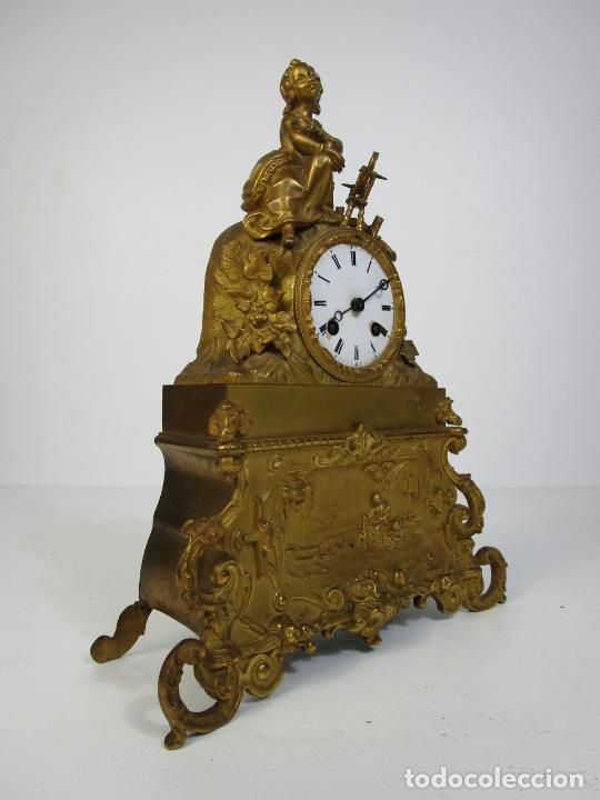 Relojes de carga manual: Reloj de Sobremesa - Estilo Imperio - Bronce - Hiladora - Completo - Funciona - S.XIX - Foto 13 - 210752075
