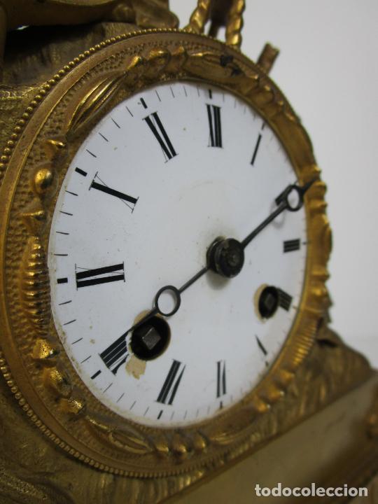 Relojes de carga manual: Reloj de Sobremesa - Estilo Imperio - Bronce - Hiladora - Completo - Funciona - S.XIX - Foto 16 - 210752075