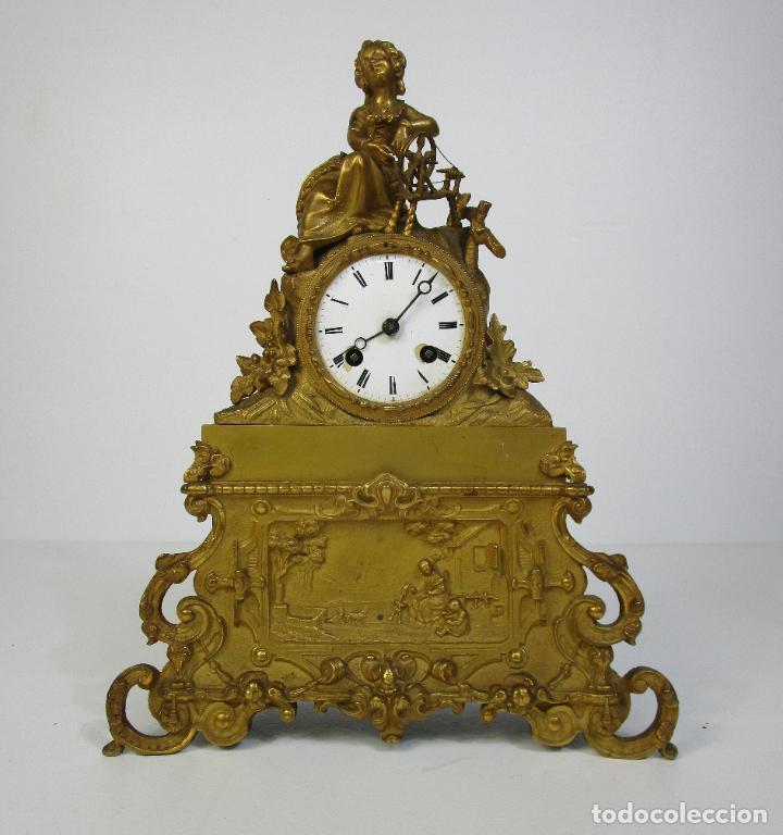 Relojes de carga manual: Reloj de Sobremesa - Estilo Imperio - Bronce - Hiladora - Completo - Funciona - S.XIX - Foto 18 - 210752075