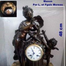 Relojes de carga manual: FRANCÉS, RELOJ SOBREMESA ALTO 48 CM, CHICA CON FIGURA DE CUPIDO.. Lote 211494365