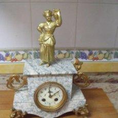 Relojes de carga manual: ¡¡GRAN OFERTA!!!ANTIGUO RELOJ SOBREMESA CON FIGURA EN MARMOL-AÑO 1880- FUNCIONA. Lote 211513726
