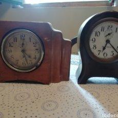 Relojes de carga manual: PAREJA DE RELOJES ARTDECO EN MADERA. Lote 215605601