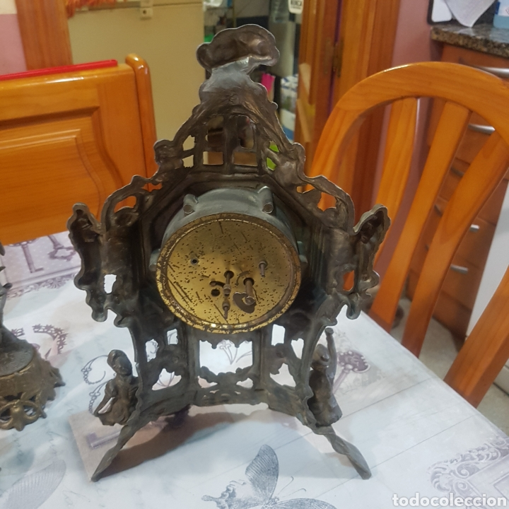 Relojes de carga manual: RELOJ DE SOBREMESA CON CANDELABROS - Foto 10 - 215695161