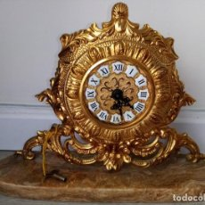 Relojes de carga manual: RELOJ DE SOBREMESA SOBRE BASE DE MARMOL MECANICO. Lote 216591658