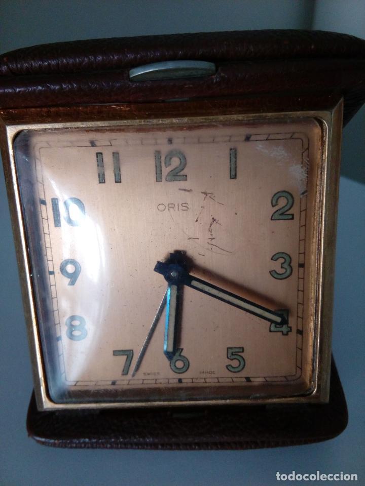 Relojes de carga manual: RELOJ DESPERTADOR DE VIAJE DE SOBREMESA ORIS SWISS MADE MECANICO - Foto 3 - 216595806
