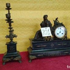 Relojes de carga manual: GUARNICIÓN DE RELOJ Y DOS CANDELABROS CUATRO LUCES SIGLO XIX, 6000-201. Lote 43452509