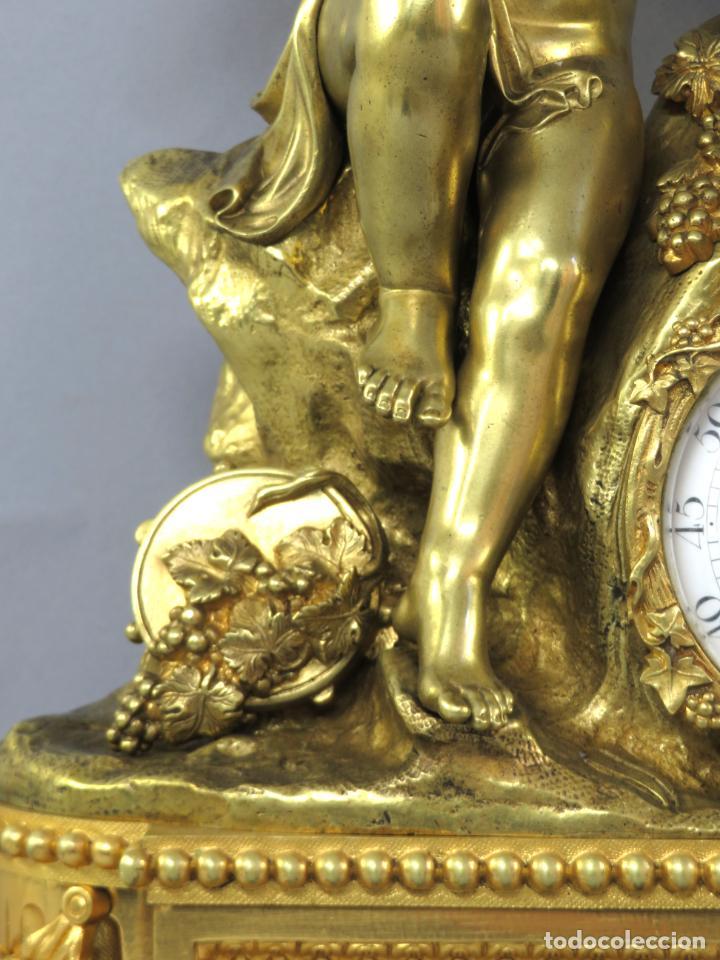 Relojes de carga manual: Reloj de sobremesa Napoleón III de cupidos en bronce dorado París porcelana Francia siglo XIX - Foto 5 - 218098693
