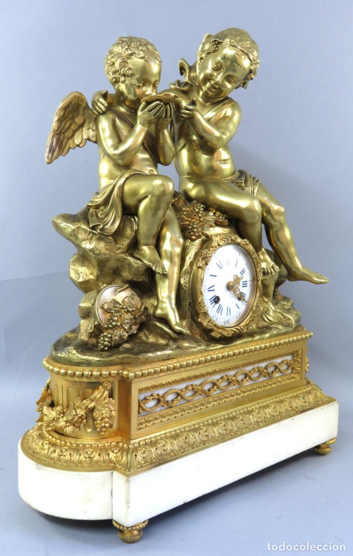 Relojes de carga manual: Reloj de sobremesa Napoleón III de cupidos en bronce dorado París porcelana Francia siglo XIX - Foto 9 - 218098693