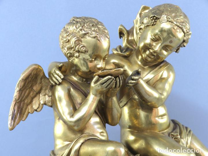 Relojes de carga manual: Reloj de sobremesa Napoleón III de cupidos en bronce dorado París porcelana Francia siglo XIX - Foto 11 - 218098693